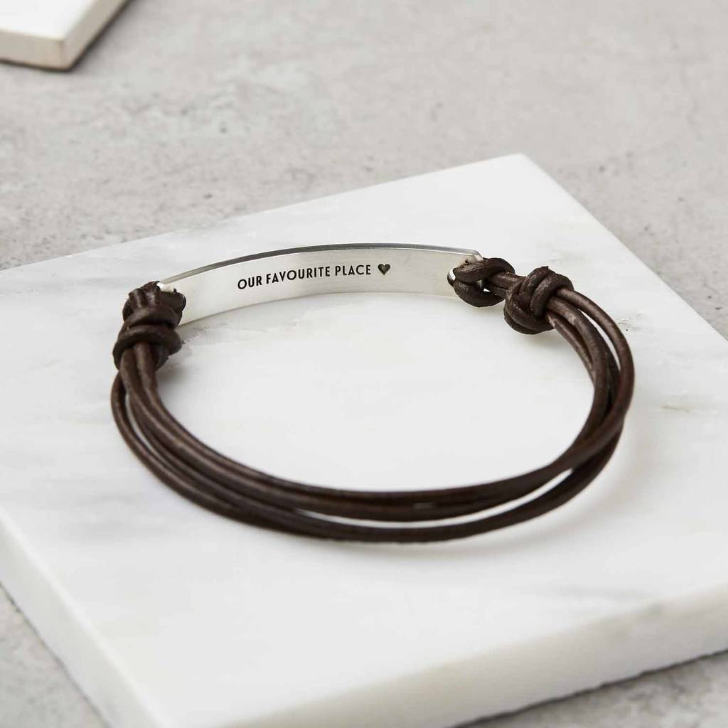 personalised sterling silver and leather bracelet by sally ...