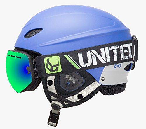 Phantom Helmet with Audio and Snow Supra Goggle (Blue, Large)