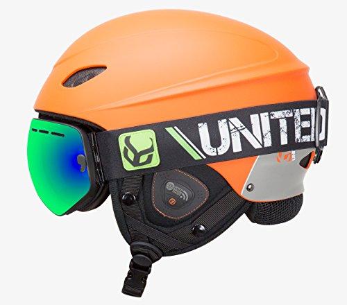 Phantom Helmet with Audio and Snow Supra Goggle (Orange, Large)