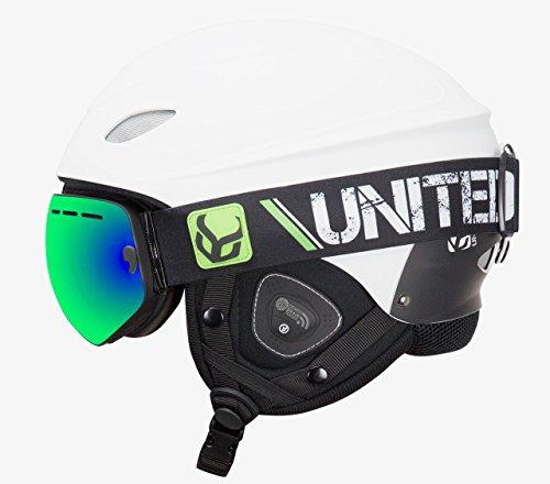 Phantom Helmet with Audio and Snow Supra Goggle (White, Large)