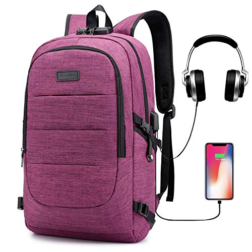 Ranvoo school backpack Laptop Backpack, Anti Theft Travel Backpack with USB Charging Port & Headphone interface for College Student for Women Men,Fits Under 15'6-Inch Laptop Notebook by SuSh (Purple)