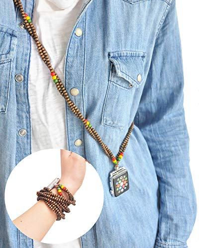 Rasta Necklace Two Way Bands Smartwatch 38mm of Series 3 2 1 / 40mm of Series 4 New Watch Double Loop Bracelet Raggae Fashion Jewelry Strap Neckband Wearable Handmade Replacement Accessories Adaptor