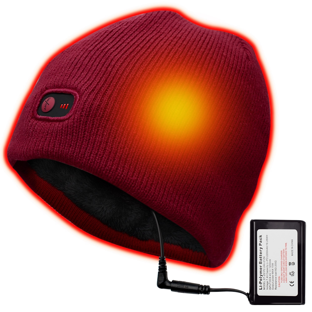 Rechargeable Electric Warm Heated Hat Winter Battery ...