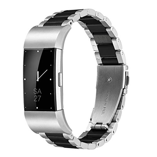 Shangpule Fitbit Charge 2 Wrist Band, Stainless Steel Metal Replacement Smart Watch Band Bracelet with Double Button Folding Clasp for Fitbit Charge 2 (Silver + Black)