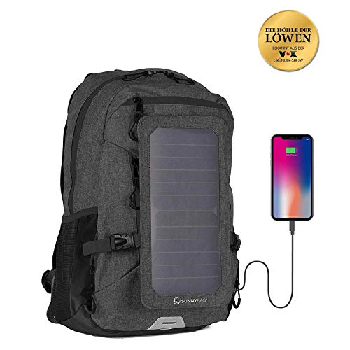 Similar to Hanergy -Sunnybag EXPLORER+ solar backpack charger   World's strongest water resistant solar panel for smartphones and all USB-devices on the go   15L volume and 15'' laptop compartment   Black/Black