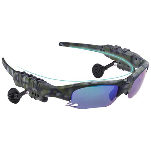 Smart Bluetooth sunglasses polarized discolored Lenses, Easy to Make Phone Calls and Listen to Music navigation, for free a pair of black lenses, a pair of night vision yellow lenses(Camouflage green)