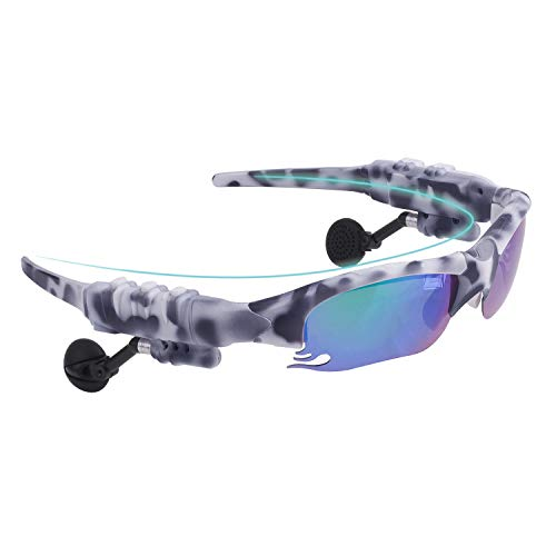 Smart Bluetooth Sunglasses Polarized Discolored Lenses Easy to Make Phone Calls and Listen to Music Navigation for Free a Pair of Black Lenses a Pair of Night Vision Yellow Lenses(Camouflage White)