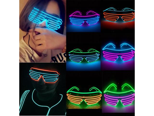 Smart Remote Control EL Glasses EL Wire Fashion Neon LED Light Up Shutter Shaped Glasses Rave DJ Bright Costume Party