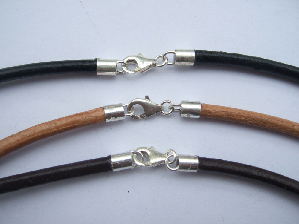 Sterling Silver 3mm Round Genuine Leather Cord Necklace ...