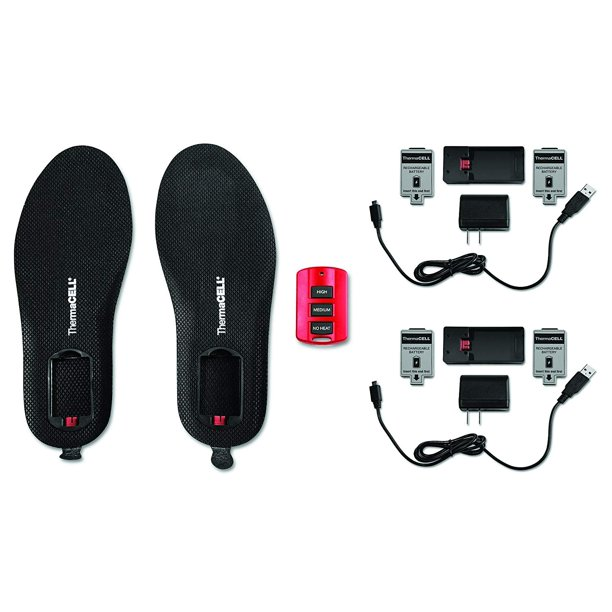 ThermaCELL ProFLEX Remote-Control Heated Insoles Bundle with Extra Battery Pack, L