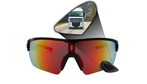 TriEye sport eyewear with integrated rearview mirror - RED/WHITE