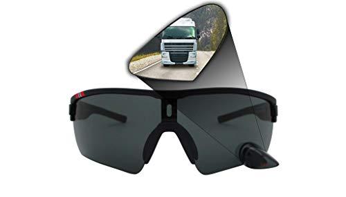TriEye Sport Photochromatic Bike Glasses with Integrated Mirror - BLACK