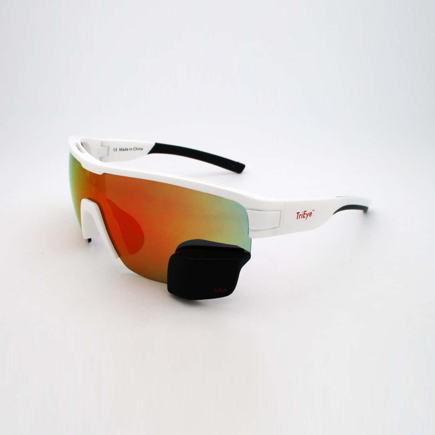 TriEye Sports Glasses with Rear-View - white | clear/smoke ...