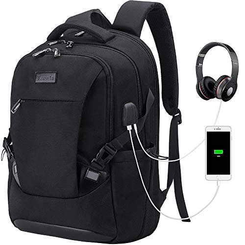 Tzowla Travel Laptop Backpack, Waterproof Business Work Backpack with USB Charging Port & Headphone Port for Men Women Durabl