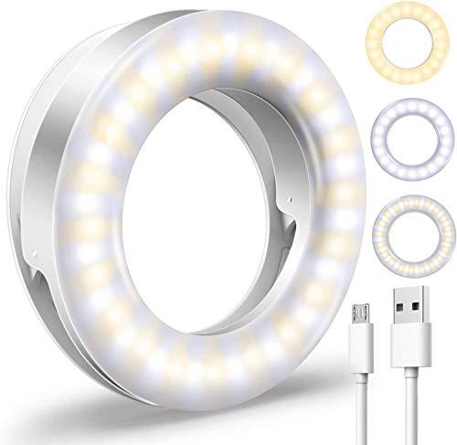Upgraded Selfie Light for iPhone 3 Lighting Modes Rechargeable Adjustable Brightness 40 LED Ring Light Clip on Phone Camera LED Light Portable Led Circle Light