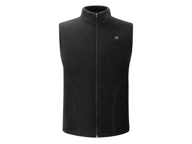 USB Heated Vest Fleece Lightweight Charging Heating Vest Black M