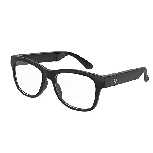 VocalSkull Alien 5 Bone Conduction Glasses Wireless Bluetooth 4.1 Headphones Myopia Waterproof Wireless Headset Hearing Aid for iOS Android Brilliant Black (Anti Blue Ray)