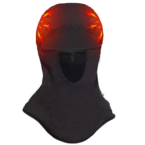 Winter Heated Balaclava, Heated Hat Men Women Face Ski Mask Battery Heated Full Face Cover Mask for Winter Sports Black