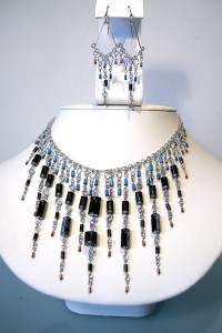 One of a kind necklace and earring set crafted together with capacitors and diodes 9